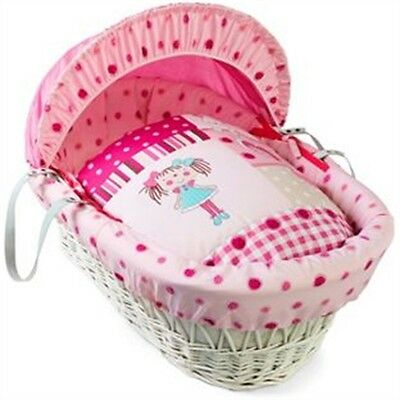 White My Dolly Wicker Moses Basket
