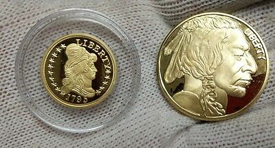 Proof 1795 $5 Half Eagle Liberty & 2012 $20 Indian Head 24k Gold Plated (COPIES)
