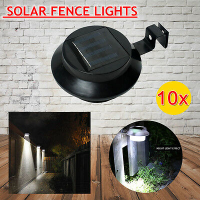 NEW 2017 Version 10x Brighter 3LED Solar Fence Gutter Outdoor Garden Light Black