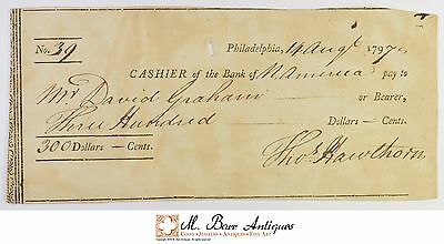 1797 $300.00 Philadelphia Bank Of North America Check 1700's Vintage *531