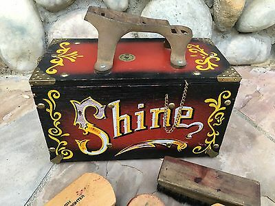 Vintage Mid Century 5 Cent Wood Brass Shoe Shine Box Circus w/ Brushes & More