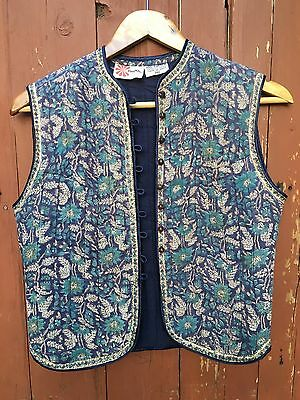 Vintage PHOOL Hippie Boho Cotton VEST India Quilted Blue Wood Buttons MED