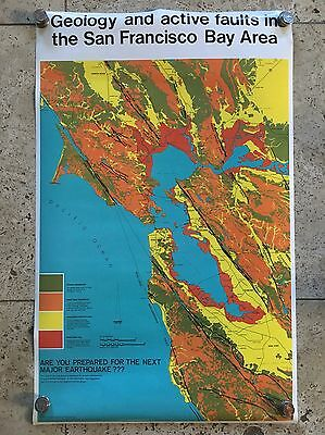 Vintage GEOLOGIC MAP Earthquake Fault Lines SAN FRANCISCO Bright Orange Poster