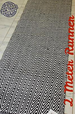 2M Long Chevron Zig Zag Rug Runner: Modern Decor Hall Floor Cotton Carpet Black