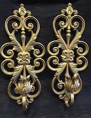 Antique Vintage Pair Wall Sconce Cast Metal Art Deco Victorian Candle Holder
