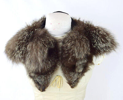 Vtg Plush Soft Raccoon Fur Retro Stitch On Jacket Coat Animal Pelt Collar 32""