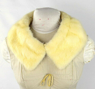 Vintage Luxe Soft Blonde Ivory Mink Fur Stitch On Retro Jacket Coat Collar 24""