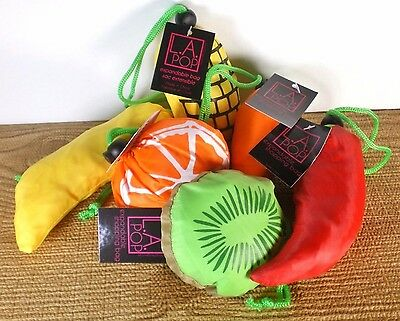 Six Reusable Foldable Shopping Grocery Portable Eco Bags Travel Totes L.A. POP