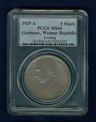 "Germany Weimar Republic 1929-A  5 Reichsmark ""lessing"" Coin, Certified Pcgs Ms64"