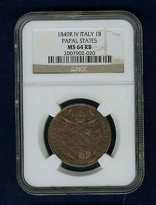 "Italy Papal States 1849-R Yr. Iv ""baiocco"" Coin, Uncirculated Certified Ngc Ms64"