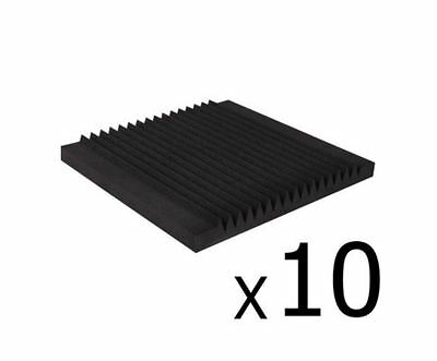 New Set Of 10 Studio Acoustic Foam Tile Wedge Black 50X50X5Cm Recording Studio