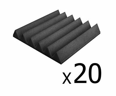 New Set Of 20 Studio Wedge Acoustic Foam Charcoal 30 X 30Cm Recording Studios