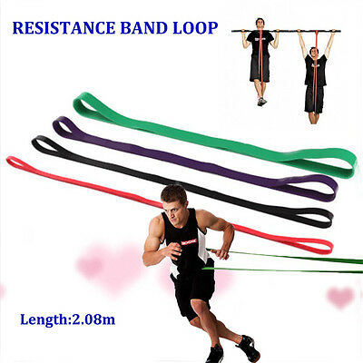 HEAVY DUTY RESISTANCE BAND LOOP POWER GYM FITNESS EXERCISE YOGA WORKOUT ty