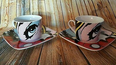 POP ART by PAUL CARDEW for FINECASA - 2 X DEMITASSE CUPS & SAUCERS - UNUSED
