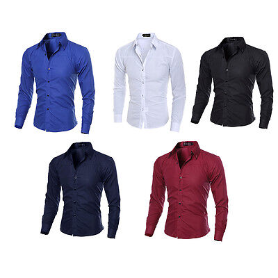 New Fashion Luxury Mens Formal Casual Suits Slim Fit Dress Shirts Long Sleeve