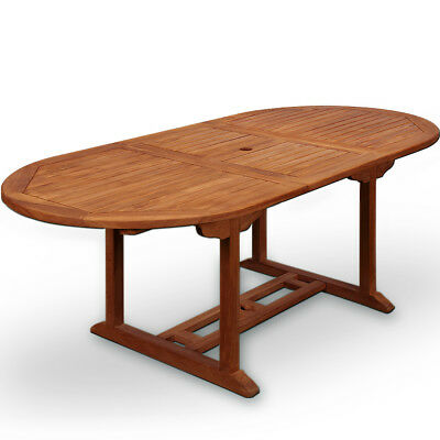 """Wooden Garden Dining Table """"Vanamo"""" 6 Seater Extendable Outdoor Patio Oval Wood"""