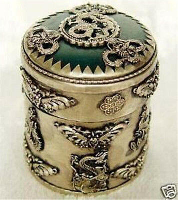 Rare China's old Tibet silver carving dragon & phoenix Cylindrical box