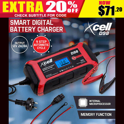 NEW XCELL Smart Battery Charger 9 Step 12V 8A Digital Automatic Maintainer