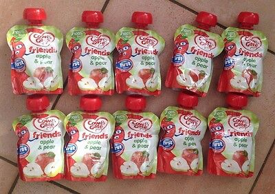 10 X COW & GATE MY FIRST SPOON - 36 MONTHS FRIENDS APPLE & PEAR FRUIT POUCH 80g