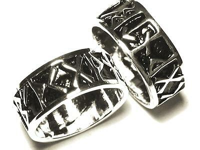 Viking Ring of Runes ring , Silver Plated. Celtic, Viking, Norse Thor.  :Size Q: