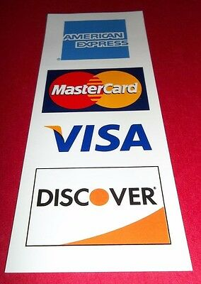 2 CREDIT CARD LOGO DECALS STICKERS - Visa, MasterCard, Discover and Amex