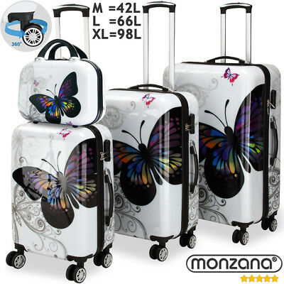 4 Pcs Butterfly Hardshell Suitcase Spinner Set + Lock & Vanity Case 360° Castors