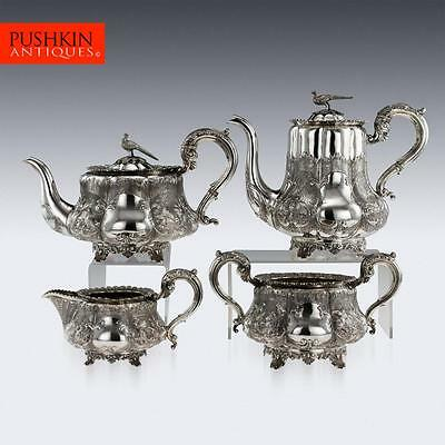 ANTIQUE 19thC REGENCY SOLID SILVER 4 PIECE TEA & COFFEE SET, LONDON c.1835