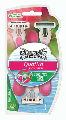 Wilkinson Sword Quattro For Women Sensitive Aloe 3 Pack Disposable Razor Blades
