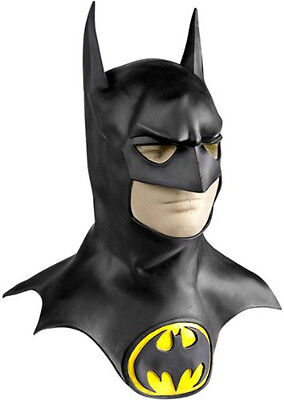 Official Deluxe Adult Batman Latex Rubber Mask With Cowl Halloween Fancy Dress