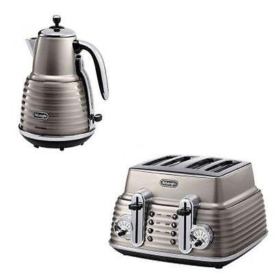 New De'Longhi Scultura Kettle And 4-Slice Toaster Champagne Gloss