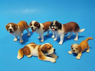 Schleich Bullyland lot 5 dog Saint Bernard beautiful family