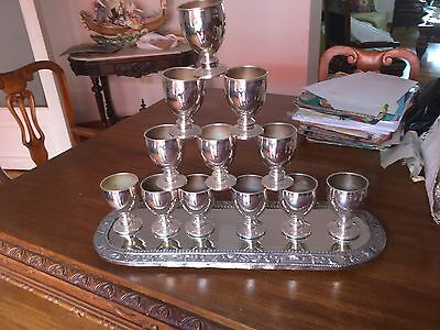 camusso set of 12 globets plus tray sterling silver.