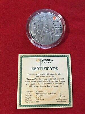 2008 20 Roubles Belarus Turnadot Fairy Tale Coin Poland Warsaw Mint .925 Silver
