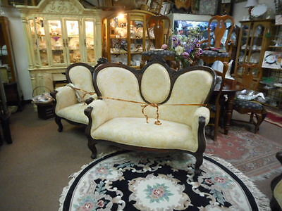 Wood Trim Cream Colored Settee Carved Top