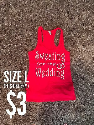 Women's Sweating For The Wedding Tank, Red, Size L (fits like S/M)