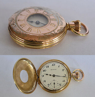 Vintage 45mm HALF HUNTER POCKET WATCH Unitas 6498 17J Swiss RUNS Sold by BIRKS