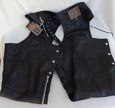 FIRST Classics Black Leather Chaps in XL Extra Large * New W/Tags