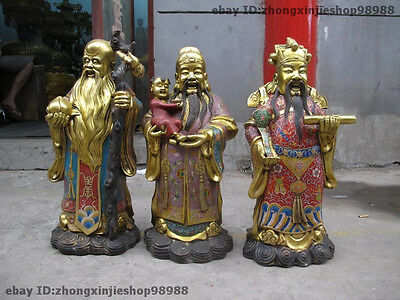 100% Bronze cloisonne Fu Lu Shou Three Lucky Longevity God Buddha Statue Set