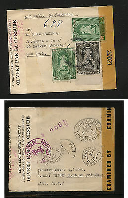 Haiti nice double censor  registered cover  1944 to US               JS1210