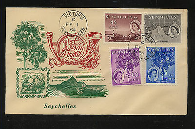 Seychelles  1954 cachet first day cover  high values               JS1210