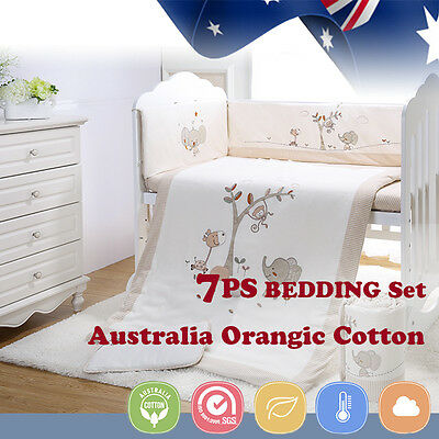 7pcs Baby Crib Bedding set Bumpers Quilt Pillow Cot Sheet Organic Cotton Cream