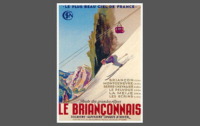 Skiing Climbing LE BRIANCONNAIS Vintage 1947 French Alps Art Deco POSTER Reprint