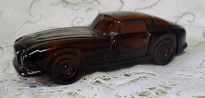Vintage Avon Brown Glass Porsche Car Black Suede After Shave Bottle