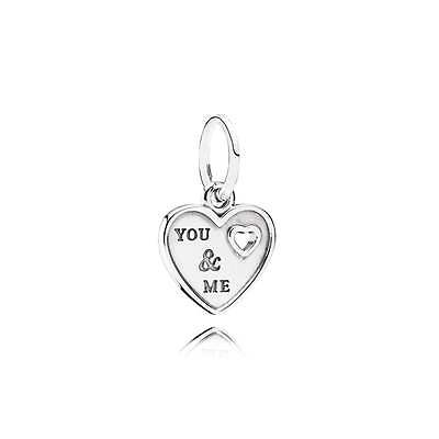 Authentic Pandora Charm Sterling Silver You & Me Dangle Heart 791430