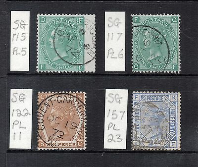 GB VICTORIAN Surface-Printed circa 1860s 70s  Group of 4 STAMPS Used REF:QE780