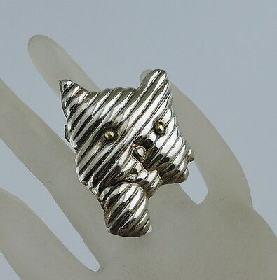Vintage Cat Kitten Sterling Silver Gold Eyes Brooch Pin Pendant Mexico