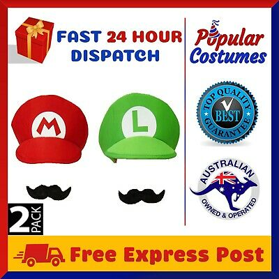 2 Pack Super Mario Luigi Brothers Adult Mens Kids Boys Cap Costume Hat Moustache