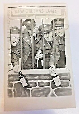 Vintage RPPC Military Personal New Orleans Jail Postcard Fun Antics Drinking WOW
