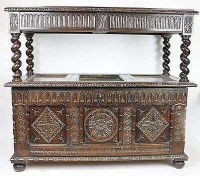 Rare Early 18th Century Period Oak  Coffer Later Converted To A Buffet Sideboard