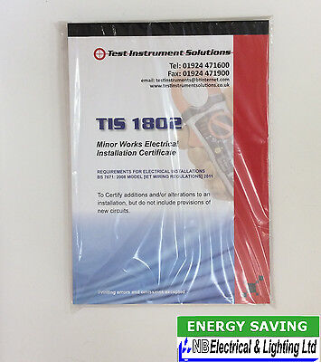 Minor Works Certificate Electrical Installation Book From T.i.s (Lsr)
